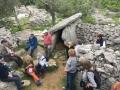Zébriniens devant le dolmen en équilibre