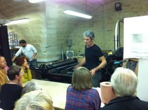 Visite de l'atelier de lithographie des Editions Bervillé d'Arpaillargues
